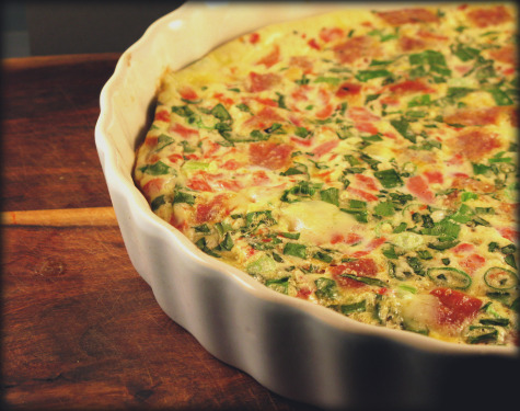 Bacon, Roasted Red Pepper, Onion Frittata